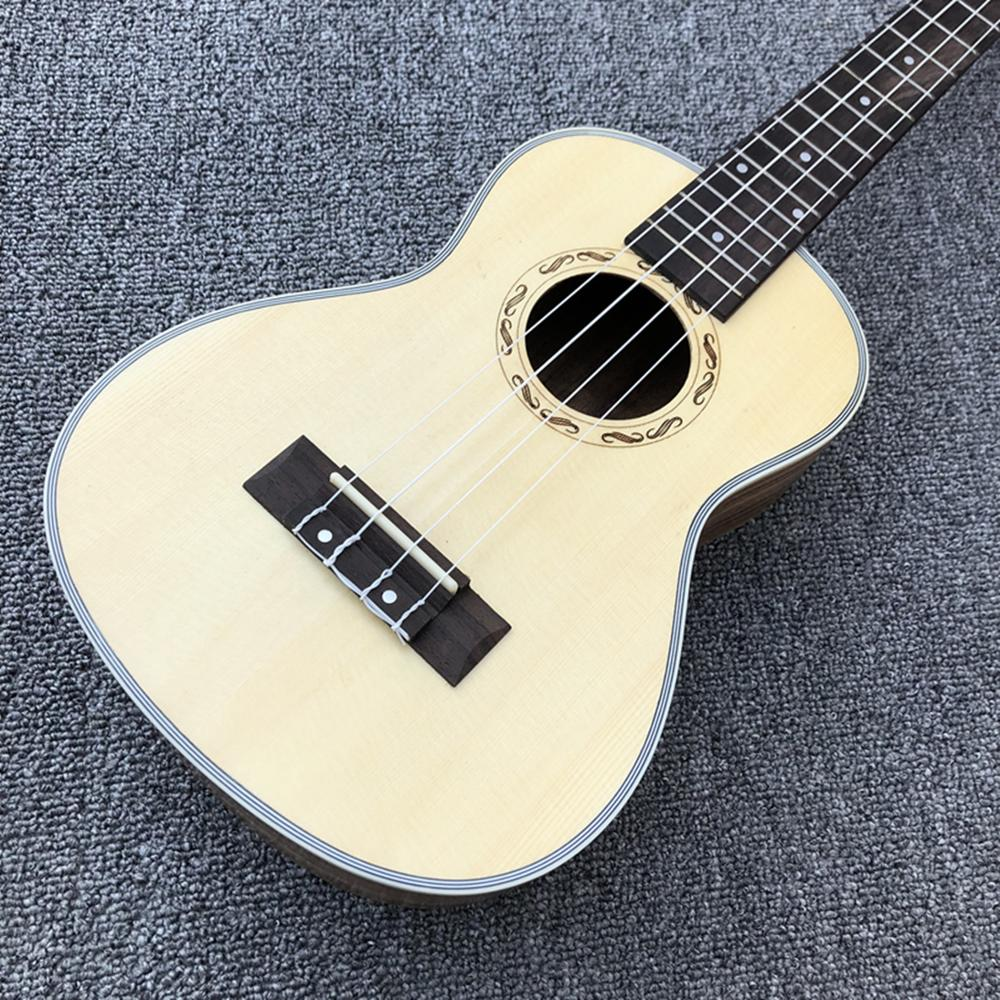 En stock, ukelele de 4 cuerdas de buena calidad de 24 pulgadas, parte superior de abeto, diapasón de ébano, guitarra acústica para niño, parte posterior y lateral de madera de cebra, Fre