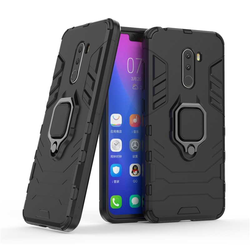 For Pocophone F1 Case Armor PC Cover Finger Ring Holder Phone Case For Xiaomi Poco phone Pocofone F1