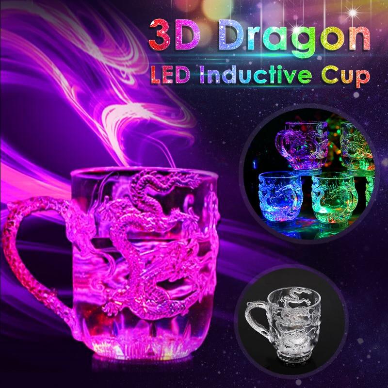 Светодиодный, индуктивный, Радужный, проблесковый светильник, вечерние приборы для напитков, креативный Рисунок дракона, кружка для виски, пива, бара, кухонные принадлежности