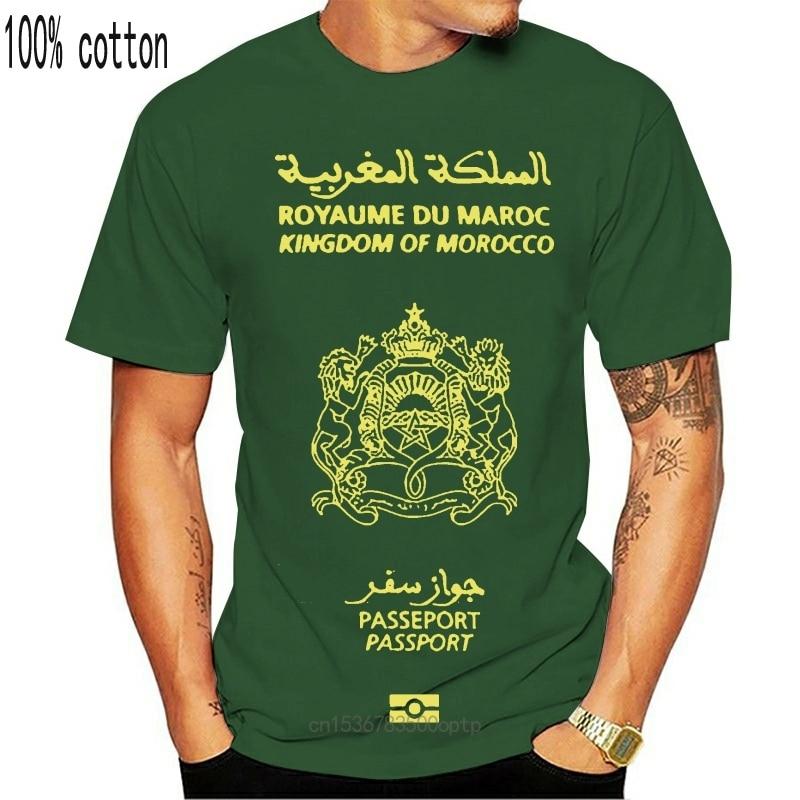 New Men tshirt Short sleeve Moroccan Passport Tshirt Unisex T Shirt tee tops Women t-shirt