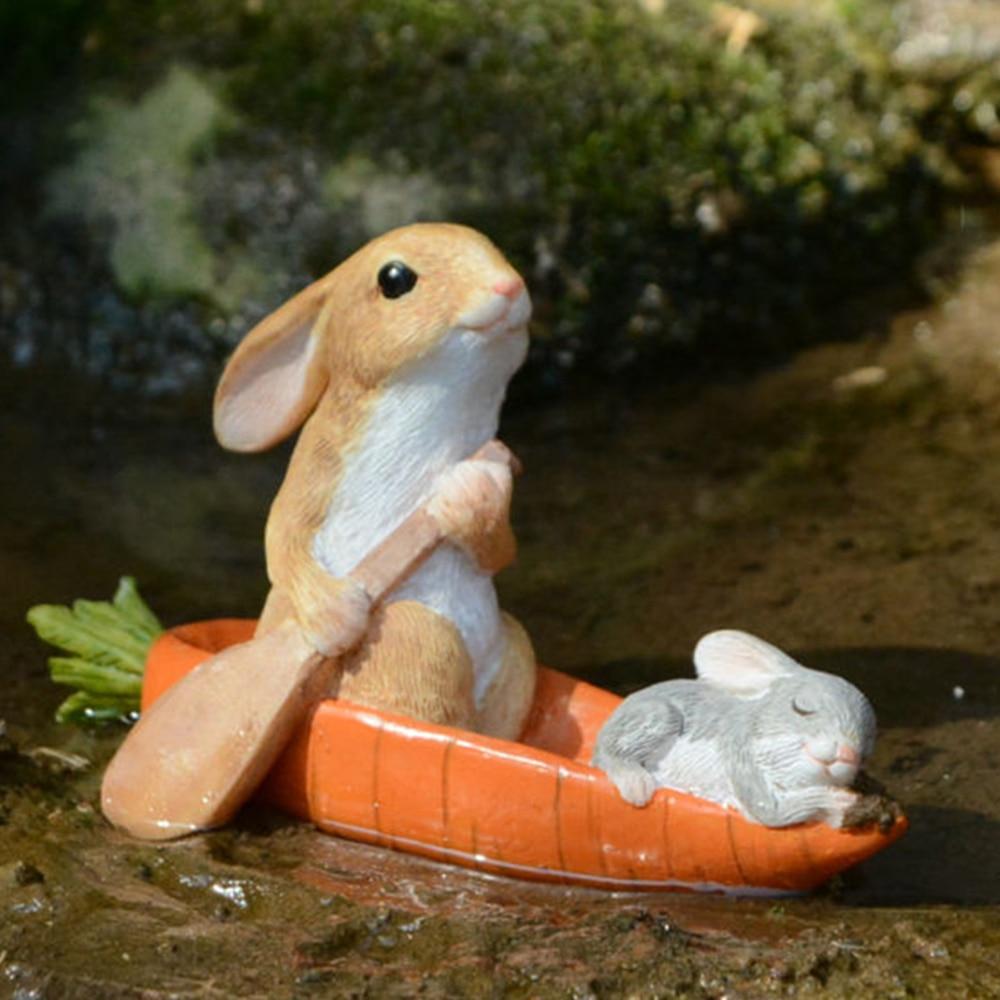 Купить с кэшбэком Everyday Collection Easter Decorations for Home Cute Rabbit Figurines Miniature Tabletop Ornaments Fairy Garden Thanksgiving