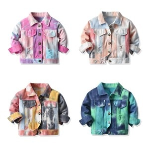 New Jacket For Kids Spring Autumn Baby Boys Girls Casual Denim Jackets Infant Tie-dyed Ripped Coat Toddler Button-down Outerwear