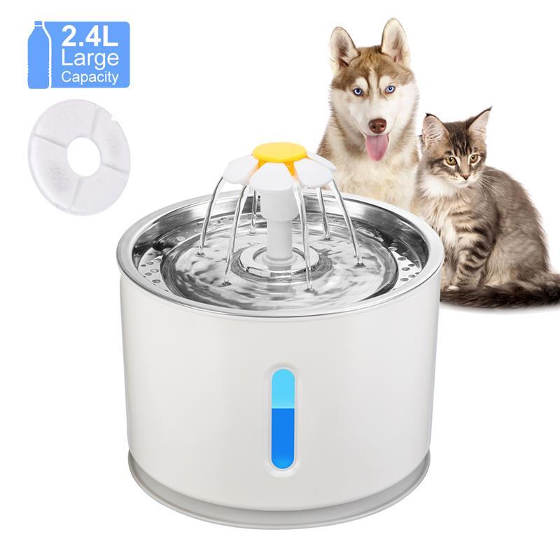 2.4L التلقائي القط نافورة الماء كلب وعاء شُرب الحيوانات الأليفة القط موزع مياه المغذية LED الإضاءة USB محول الطاقة دروبشيب