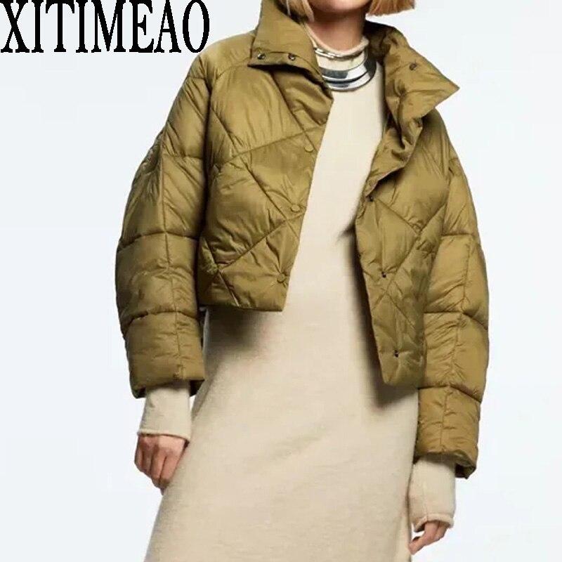 Za نساء موضة الماس شبكة خط الضغط رقيقة القطن معطف الرجعية طويلة الأكمام النساء الطيار سترة معطف قمة الموضة Xitimeao
