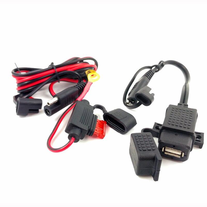 مقاوم للماء دراجة نارية شاحن USB مزدوج عدة SAE إلى كابل مهايئ USB 120 سنتيمتر كابل مضمنة الصمامات للدراجات النارية الهاتف المحمول اللوحي لتحديد ال...