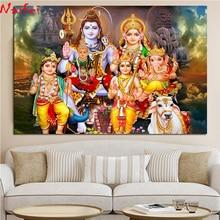 5d diy Diamond embroidery Shiva Parvati Ganesha Indian religion full round Diamond Cross stitch Hindu God Figure home decor