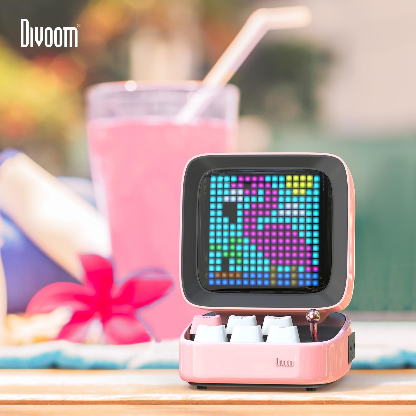 Promo Divoom Ditoo Retro Pixel Art Bluetooth Portable Speaker Alarm Clock DIY LED Display Board, New Year Gift Home Light Decoration