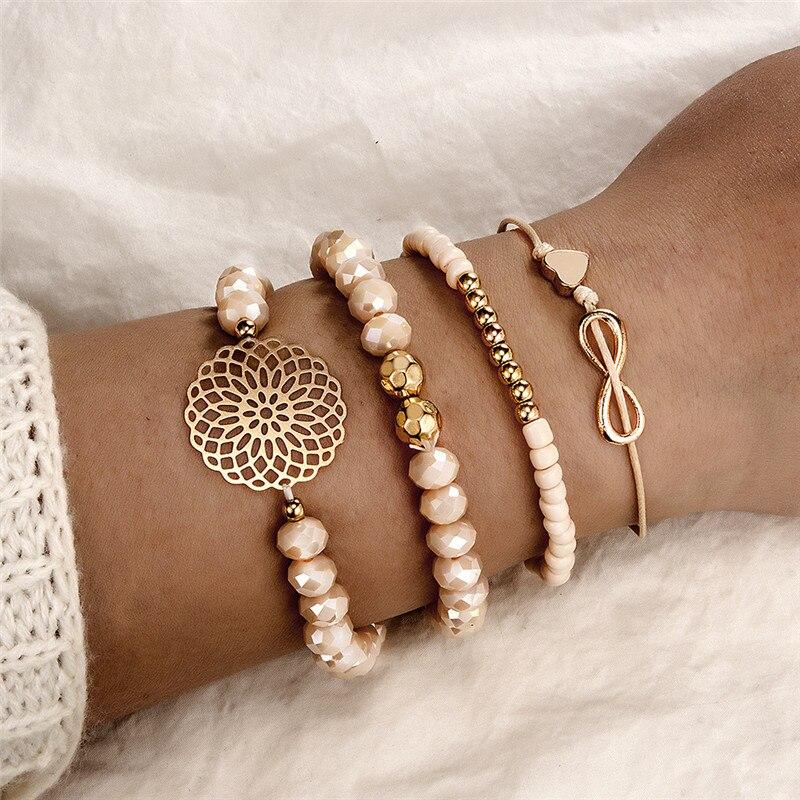 2020, nuevo, conjunto de pulsera Boho con corazón naranja para mujer, cadenas de flores, pulsera ajustable, brazalete, joyería, Bransoletka