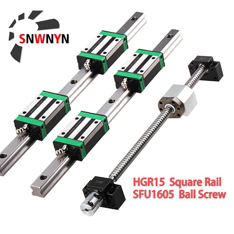 2 قطعة HGR15 الخطي مربع دليل السكك الحديدية + 4 قطعة HGH15CA النقل + 1 قطعة SFU1605 الكرة المسمار + BK/BF12 نهاية دعم + اقتران + الجوز الإسكان CNC مجموعة