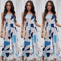 fashion plus size sexy breast wrap digital print jumpsuit wide leg pants women