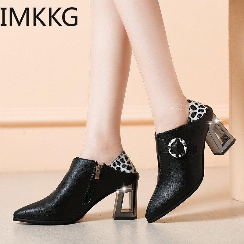 2019 botas de tobillo de marca de moda para mujer Zapatos de tacón alto cuadrado Martin zapatos de baile para mujer botas de cuero básicas Q00256