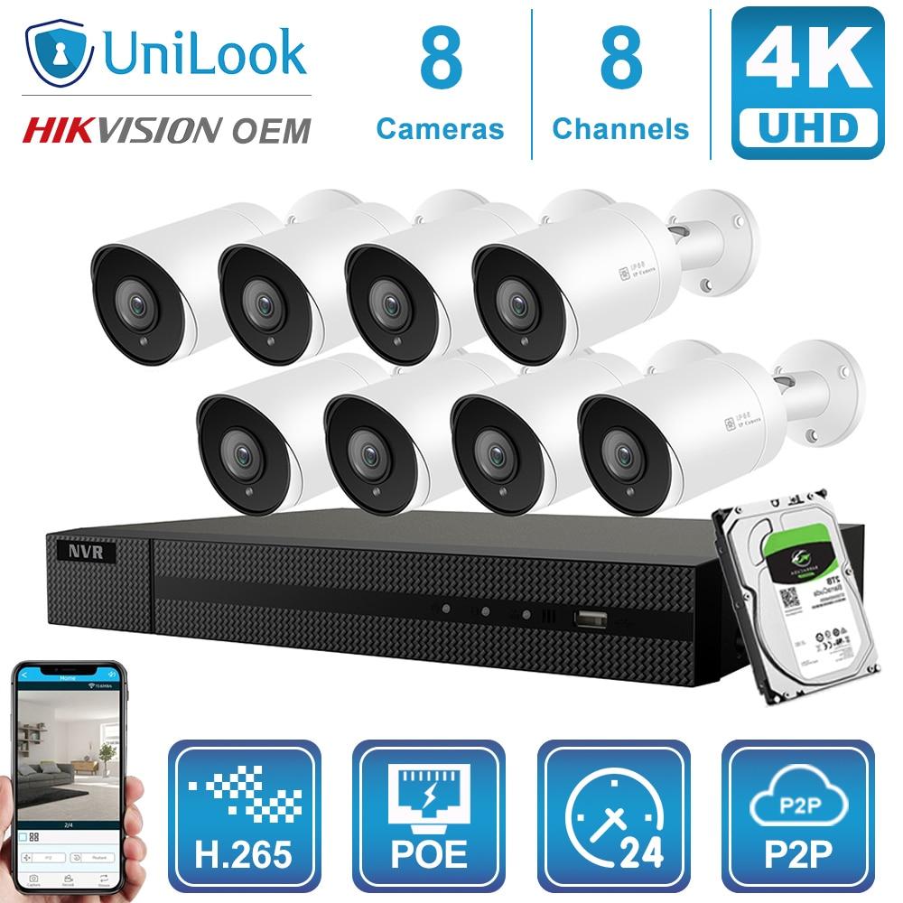 Камера видеонаблюдения Hikvision OEM, 8 каналов, 4K, NVR, 8 Мп, POE, IP, 4/6/8 шт., система наружного видеонаблюдения ONVIF H.265, наборы NVR с жестким диском 1/2/4 ТБ