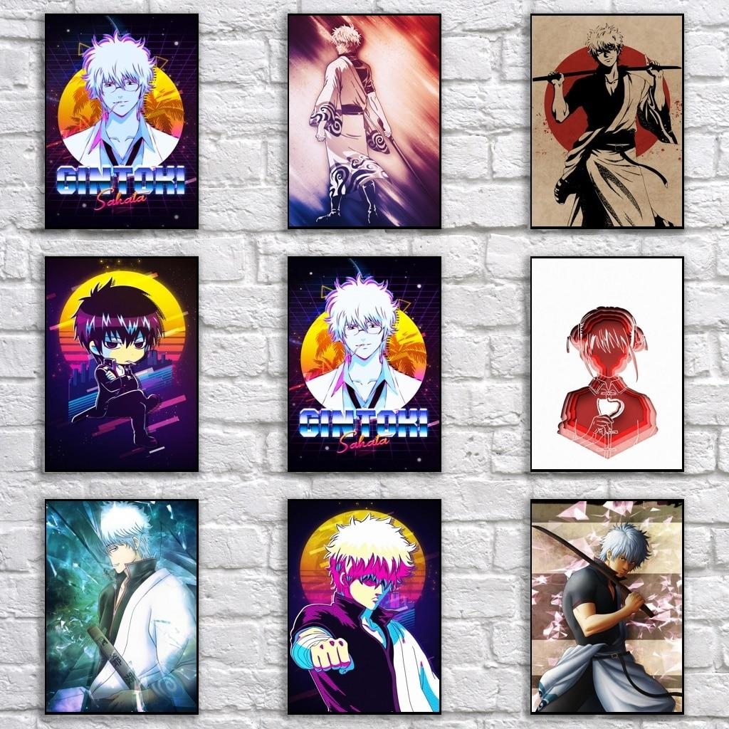Cartel de Anime GINTAMA, póster de dibujos animados, pintura artística, divertida pegatina de pared de lujo para Bar de cafetería