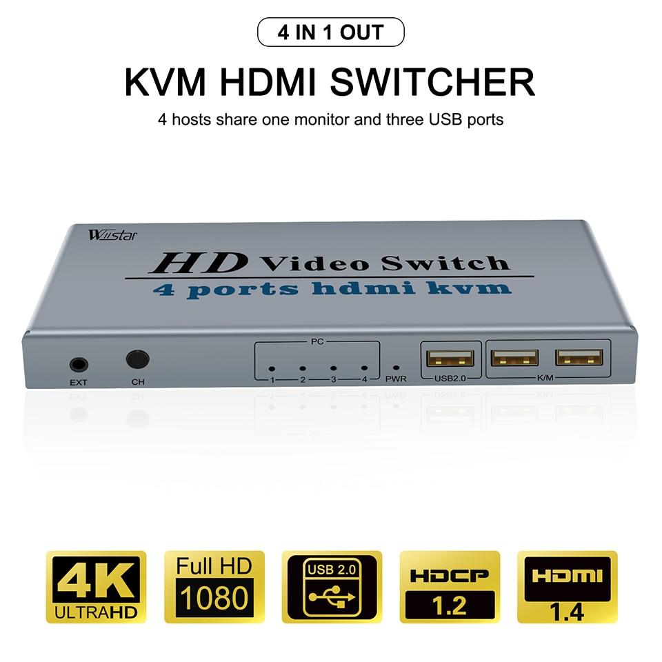 KVM-conmutador HDMI 4K, USB, HDMI, KVM, 4 en 1, con 3 puertos...