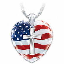 Coeur croix pays drapeau collier femmes mode cristal clair déclaration colliers bijoux de mariage dames cadeaux