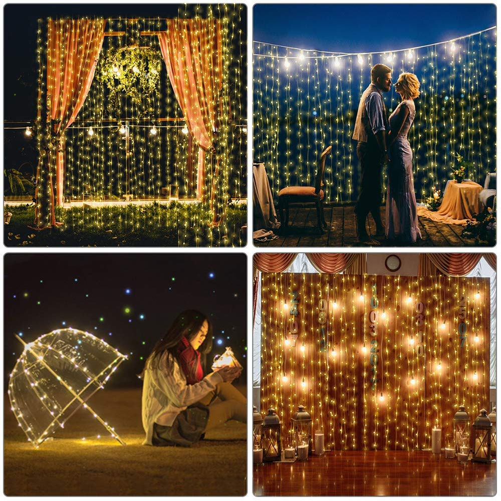 USB Powered 3x1M/3x2M/3x3M LED Copper Wire String Window Curtain Lights Waterproof Outdoor Christmas Party Wedding Garland light  - buy with discount