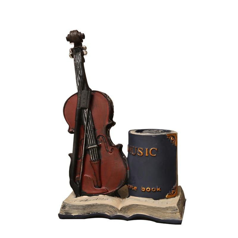 Saxofón nostálgico violín y libro resina decorativa pluma titular ornamento Vintage decoración del hogar artesanías figuras de escritorio Decoración