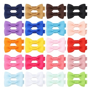 20Pcs/lot Mini Ribbon 2Inch Bowknot Hair Clips For Girls Boutique Hairpins Safty Cute Barrettes Headwear Kids Hair Accessories