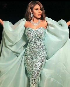 Arabian Design Off the Shoulder Sweetheart Bling Bling Sequin Lace Mermaid Prom Dresses with Cape