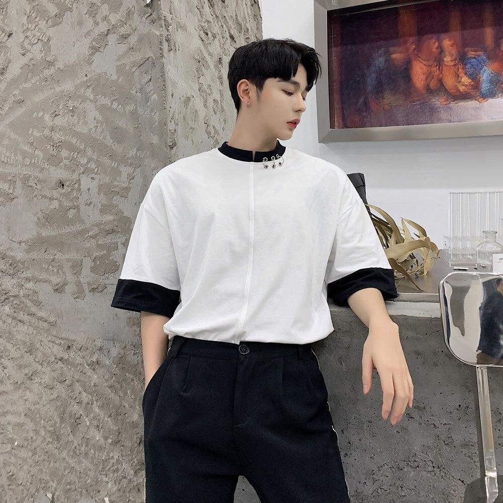 Men Summer Streetwear Hip Hop Loose Casual Short Sleeve T Shirt Male Black White Splice Iron Ring Tshirt Tee Shirt