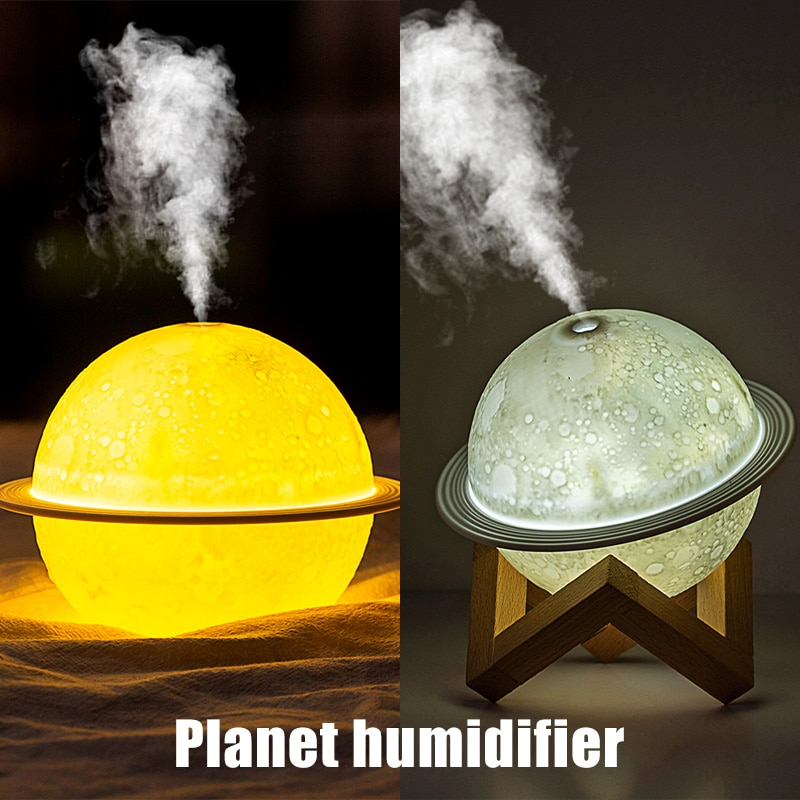 LED Moon Lamp Night Light Mist Discharge For Home Car USB Electric Evaporative Humidifier Household Small Moisturizing Diffuser