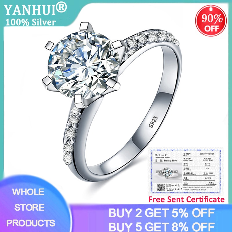 90% OFF! With Certificate Luxury 100% Original 925 Solid Silver Ring Topaz 2ct Zirconia Diamond Wedding Rings Bride Fine Jewelry 95% off with certificate luxury solitaire 2 0ct zirconia diamond ring 925 solid silver 18k white gold wedding rings for women