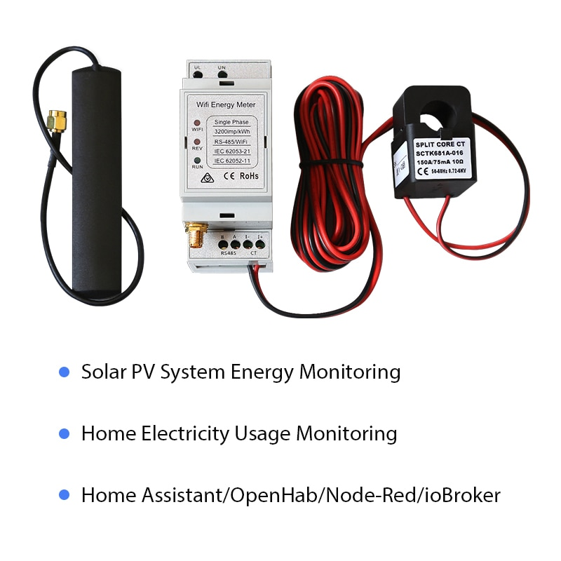 ثنائية الاتجاه مرحلة واحدة واي فاي مقياس الطاقة ، 150A ، Din السكك الحديدية ، مساعد المنزل ، openbank ، النظام الكهروضوئية الشمسية ، CE ، الامتثال RCM
