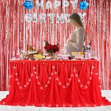 LED الماس نمط مفرش طاولة الصلبة متعدد الطبقات تول توتو ث/ضوء الجدول الديكور لحفل زفاف عيد ميلاد استحمام الطفل