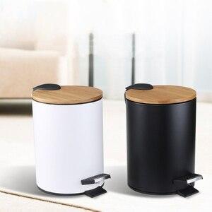 3/5L Wooden Flip Step Trash Can Garbage Rubbish Bin Waste Container Organizer Bathroom Kitchen Living Room Office Decoration