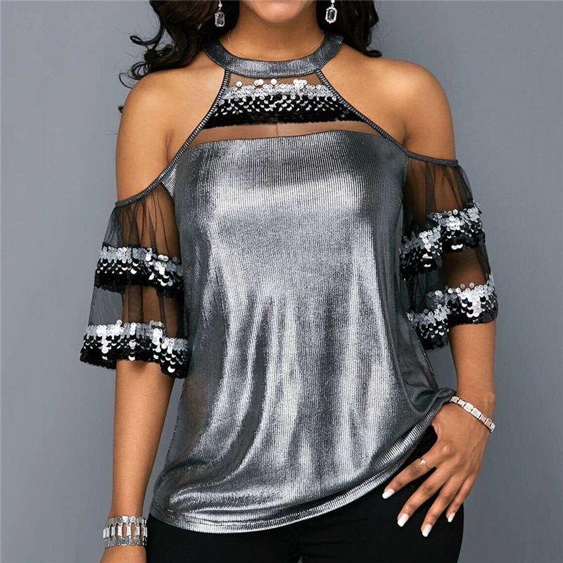 Mujeres Halter cuello redondo hombro frío manga corta Casual lentejuelas blusa Tops plata malla Patchwork camisas