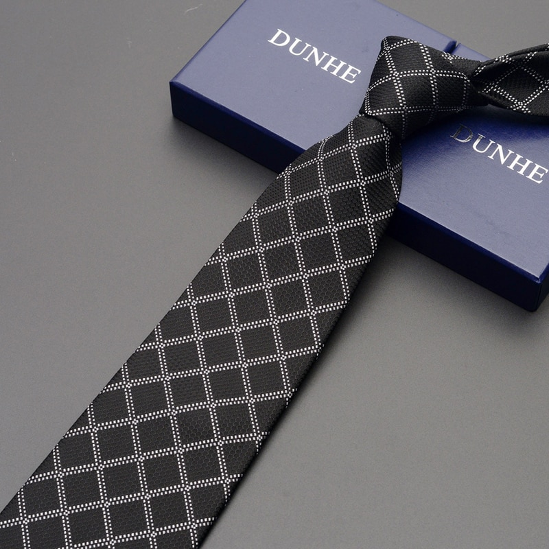 High Quality 2019 New Fashion Ties Men Business 9cm Gray Striped Silk Tie Wedding Ties for men Designers Brand with Gift Box