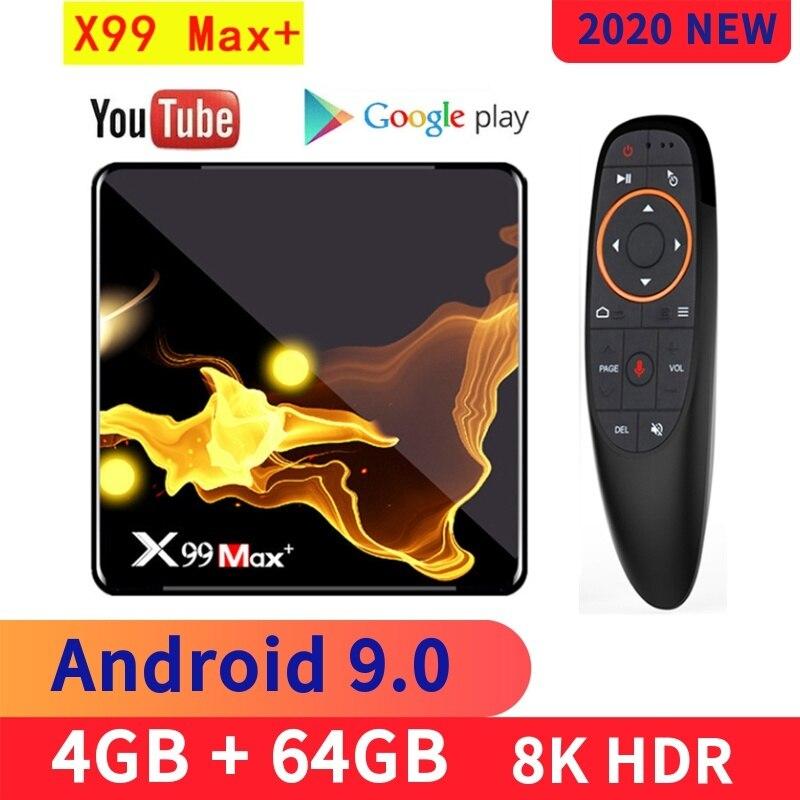 X99 Max + caja de TV inteligente Android 9,0 Amlogic S905X3 Quad Core 4GB 64GB 2,4G y 5G Wifi BT 8K de Youtube, Netflix Set top BOX Media player
