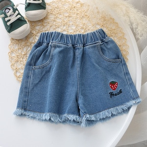 New Summer Baby Girls Shorts Casual Blue Middle Elastic Waist Cotton Regular Short Demin Pants For Child Cute Clothes 4 5 6 7 10