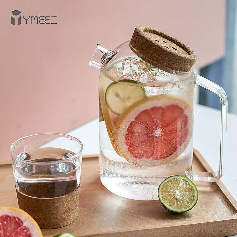 YMEEI-غلاية مياه زجاجية إبداعية مصنوعة من الفلين ، غطاء خشبي ، إبريق شاي على شكل زهرة ، مقاومة للحرارة ، غلاية باردة بغطاء من الفلين ، إبريق قهوة