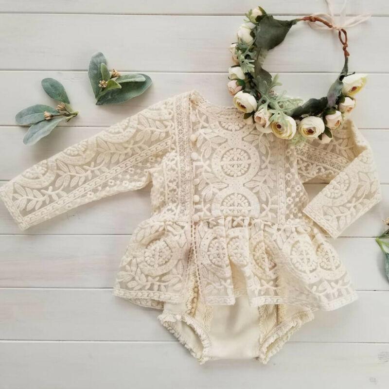 Blotona Cute Newborn Baby Girl Sleeveless/Long Sleeve Lace Romper Jumpsuit Tutu Dress Outfits Clothe