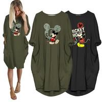 Платье женское средней длины с Микки Маусом, повседневное винтажное вечерние ное вечернее платье Disney с мультяшным принтом и карманами, осен...