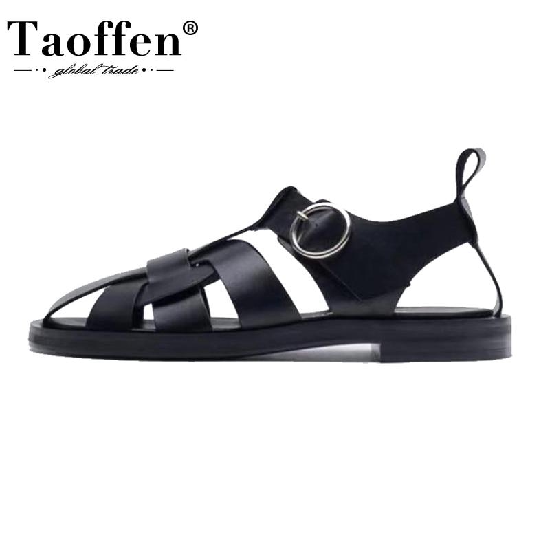 TAOFFEN 2021 جديد المرأة ريال أحذية من الجلد الصنادل الصيف مشبك حزام الجوف خارج صنادل شاطئ أحذية نسائية باردة حجم 34-42