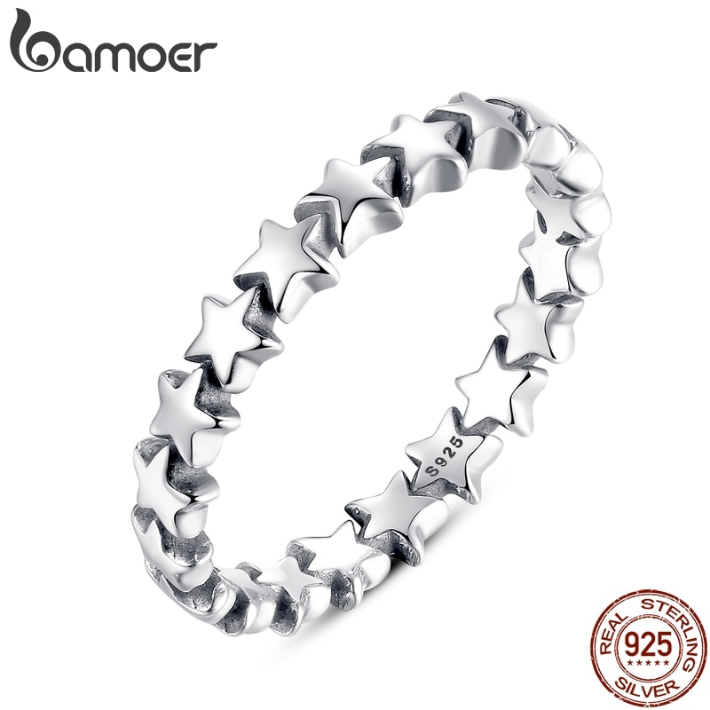 BAMOER 2020 HOT SALE Silver 925 Star Ring For Women Wedding 100% 925 Sterling Silver Stackable Finge