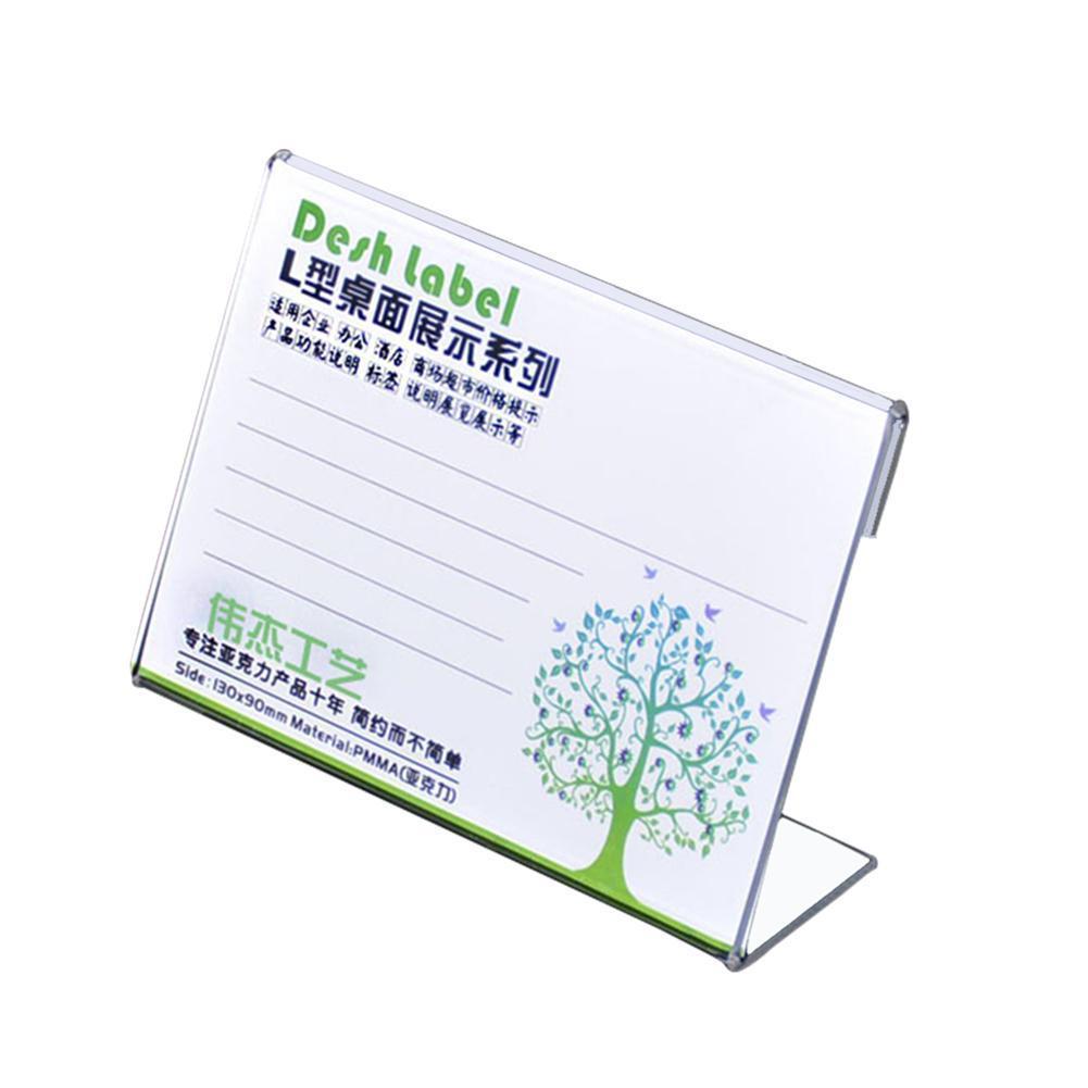 10 Pcs 4*6CM L Label Holder Acrylic Label Price Tag Frame Holder Display Label Sign Card Stand Frame Case Label Stand Table L5J6
