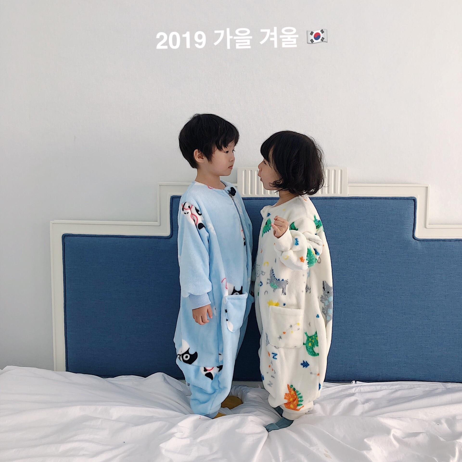 Children's winter sleeping bag split-foot type Children's double-sided thickening cartoon baby anti-kicking quilt