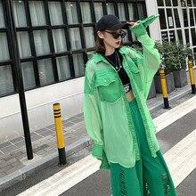 Chemise BONJEAN Denim Patchwork pour femmes   Ample, hauts et chemisiers, manches longues, Chemise Femme en mousseline verte BJ1626, 2020
