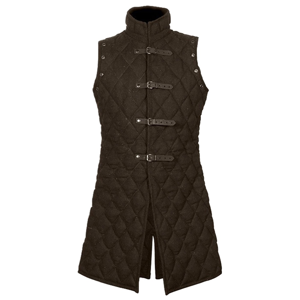 Men Medieval Knight Cosplay Costume Solid Collar Leather Buckle Vest