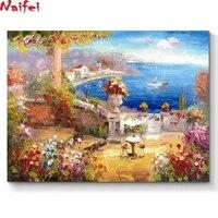 Peinture murale diamant theme paysage de bord de mer  broderie complete 5D  perles rondes ou carrees  a faire soi-meme  kit de mosaique  decoration dinterieur