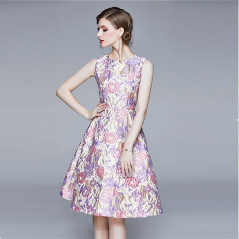 Vestido de pasarela de diseñador de alta calidad para verano para mujer, vestidos de fiesta Midi con estampado de flores de Jacquard a la moda para mujer, novedad de 2020