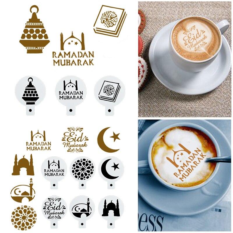8 pçs ramadan decoração café impressão modelo bolo cupcake cappuccino modelo strew almofada ferramentas de cozimento eid mubarak decoração de festa