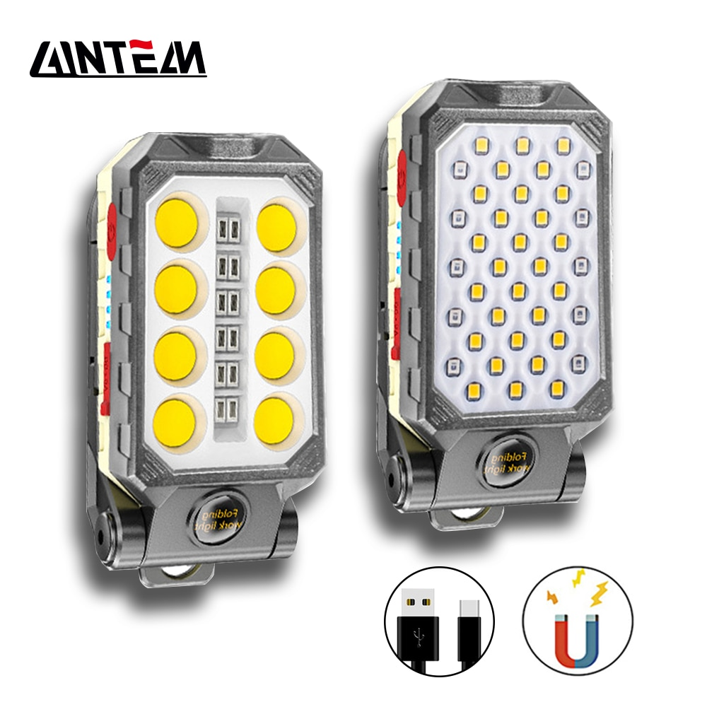 20w cob led spotlights powerful usb 18650 led work light rechargeable lampe led flashlight waterproof for outdoor camping lights Portable Lantern LED Work Light Hook Magnet 8000LM Camping Lamp COB USB Rechargeable 18650 Flashlight Torch Waterproof Highlight