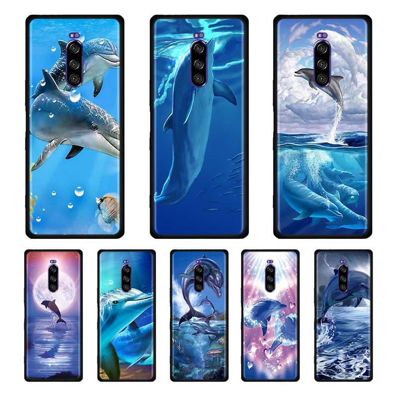 Funda blanda de silicona negra con delfines gratis para SONY Xperia 1 10 II 5 L4, carcasa para teléfono