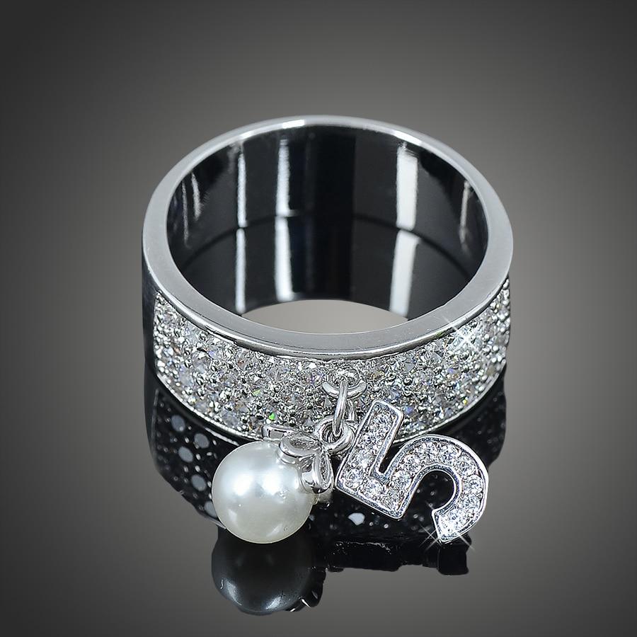 Anillo de compromiso de lujo de Lamour & ma, letra Multicolor 5, anillo de cristal con Concha, anillo de perlas para mujer, regalos de joyería, boda