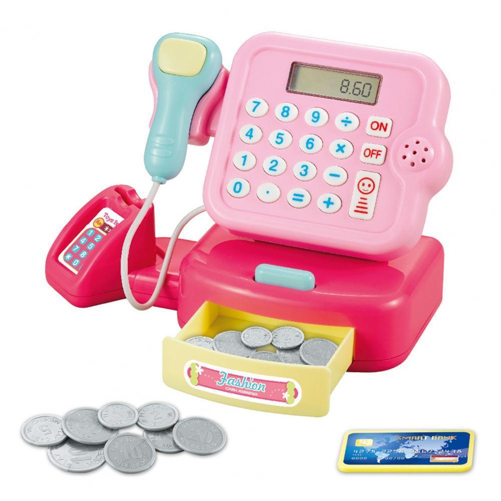 Электронный детский игрушечный кассовый аппарат для супермаркета