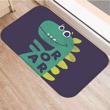 Tapis de sol en imprimé de dinosaure   Tapis de paillasson doux en flanelle pour chambre à coucher, salon, tapis de couloir de porte